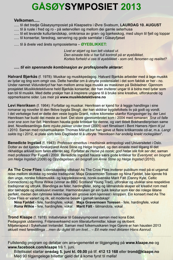 Program for G�s�ysymposiet 2013